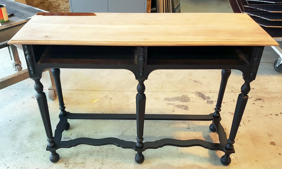 Light Brown Dye Stain And Key West Blue Accent Table | General Finishes  Design Center