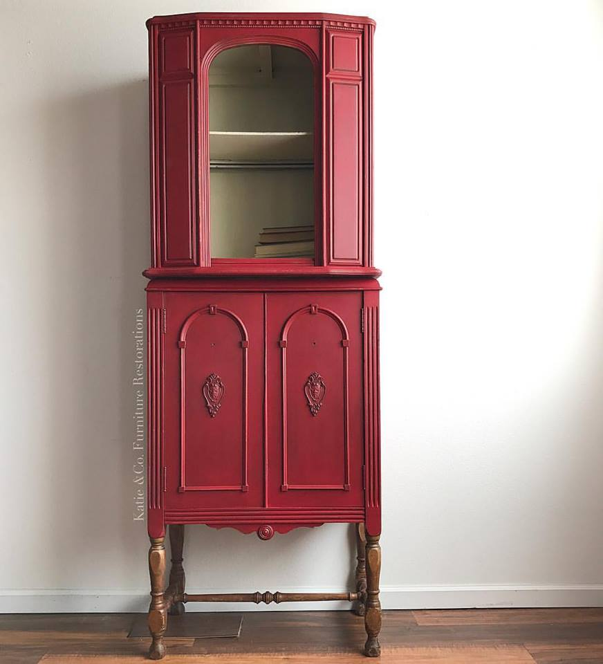 Best Water Based Paint For Kitchen Cabinets Uk: Cute Cabinet In Custom Color Holiday Red & Linen