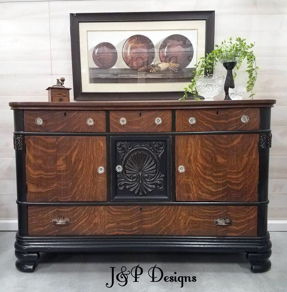 General Finishes Gel Stain Pint Or Furniture Oil Topcoat: Lamp Black & Brown Mahogany Gel Stained Sideboard