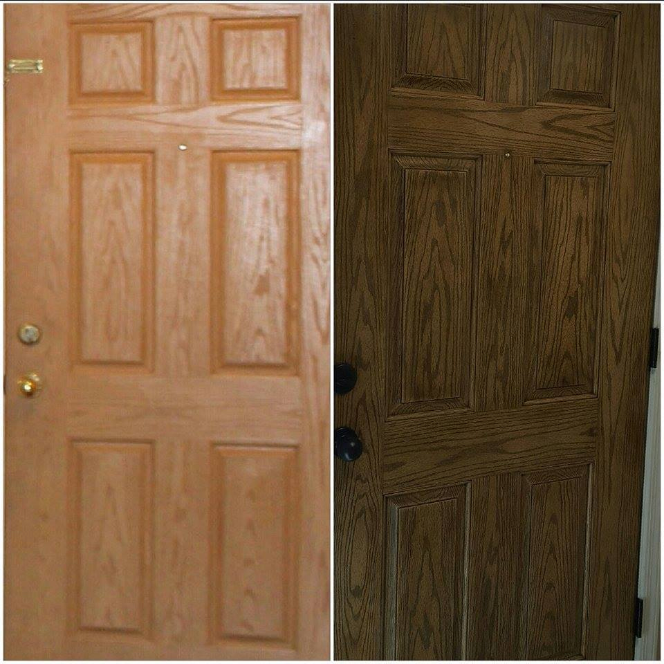 Fiberglass door in antique walnut gel stain general for Fiberglass doors