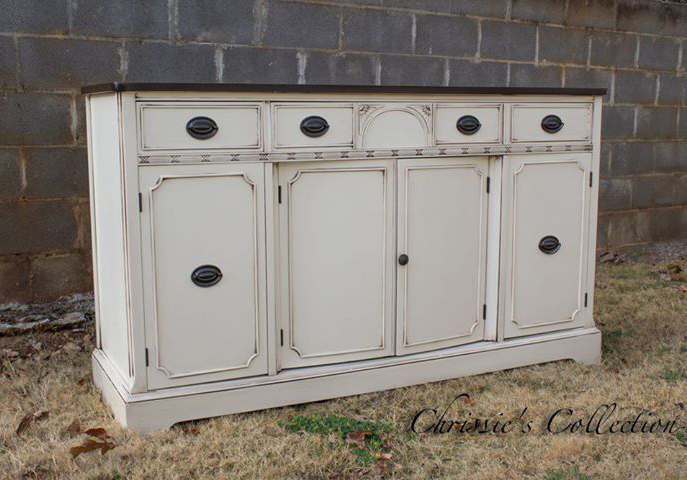 Buffet in Antique White Milk Paint and Java Gel Stain with ...
