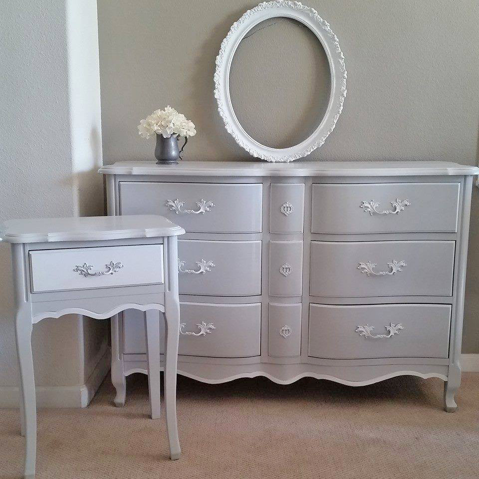 Bedroom Dresser And End Table Set In A Seagull Gray And Snow White Milk Paint Custom Mix