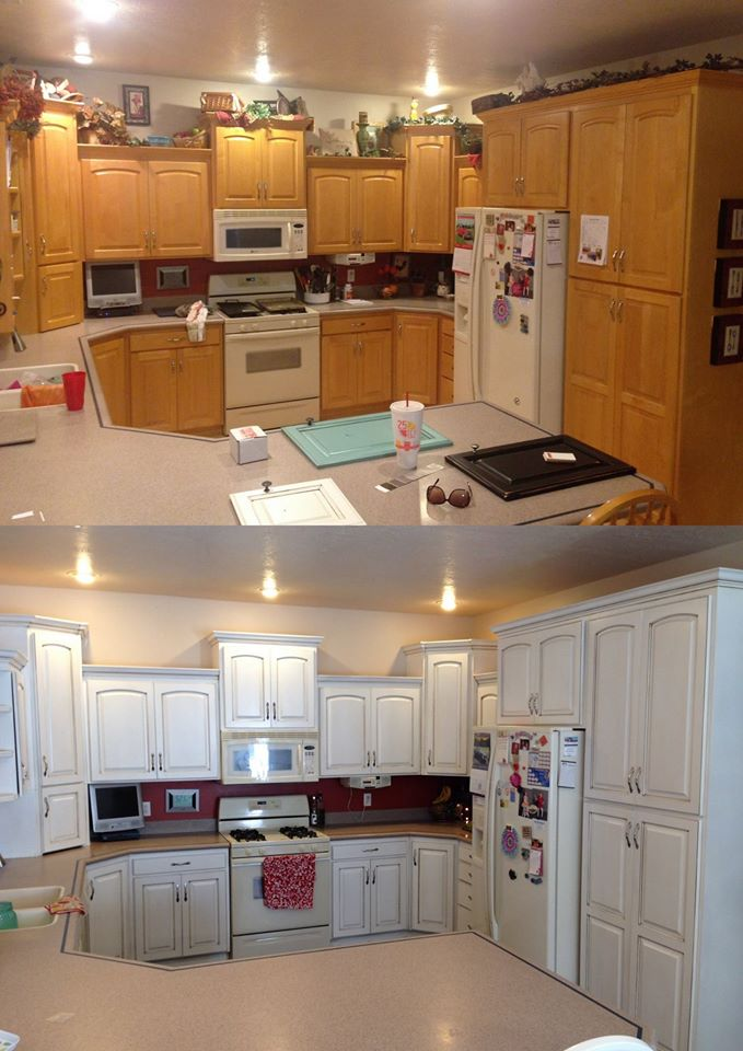 snow white and brown kitchen cabinets general