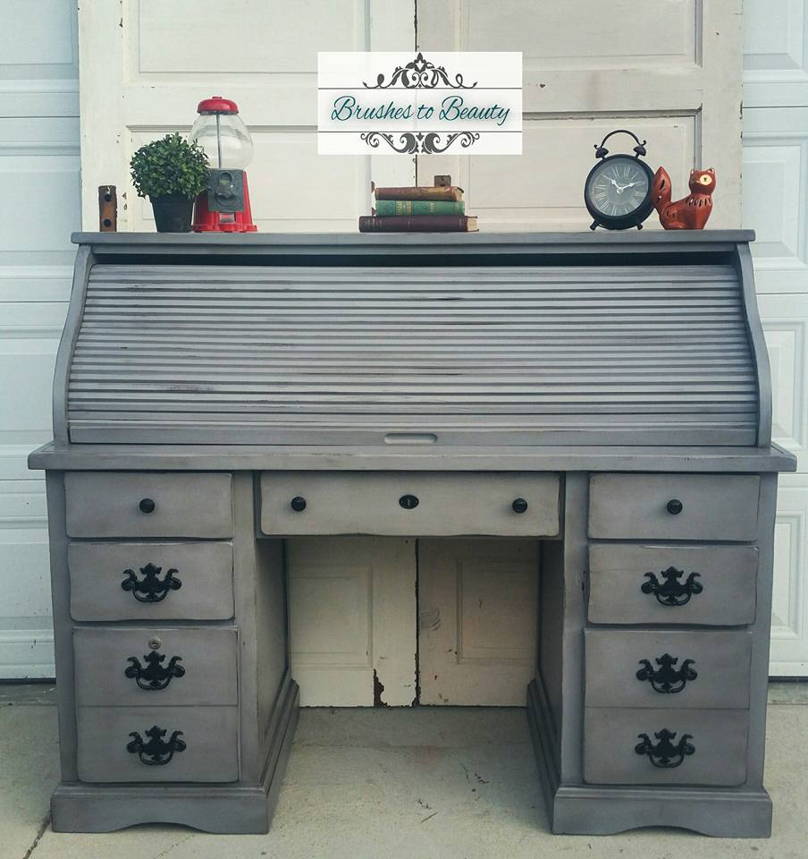 Custom Gray Roll Top Desk | General Finishes Design Center