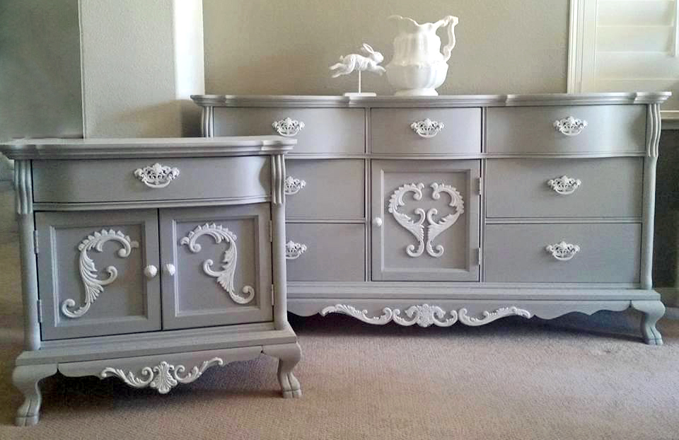 Vintage Bedroom Set In Seagull Gray And Snow White General Finishes Design Center