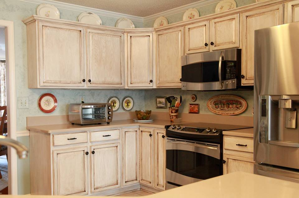 Kitchen Makeover In Snow White Milk Paint Topped With Van Dyke Brown Glaze Effects