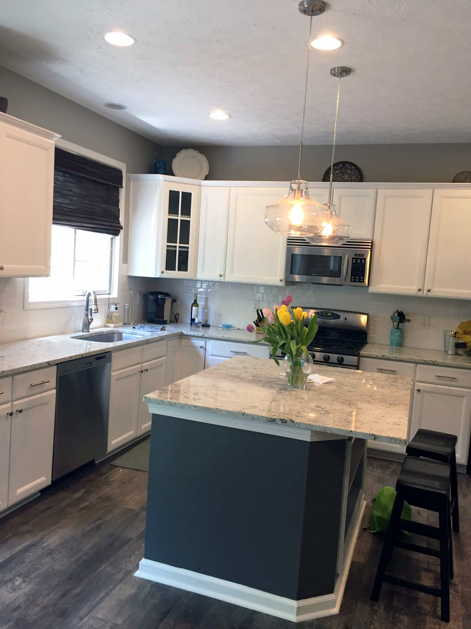Snow white and driftwood kitchen makeover general for White milk paint kitchen cabinets