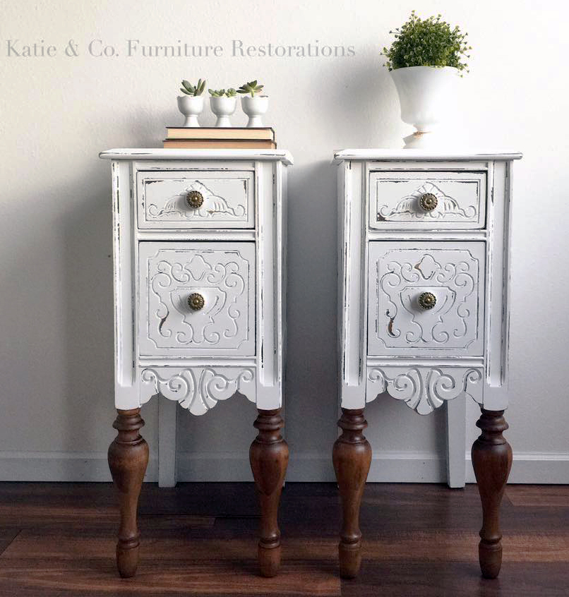 Snow White Upcycled Bedside Tables General Finishes