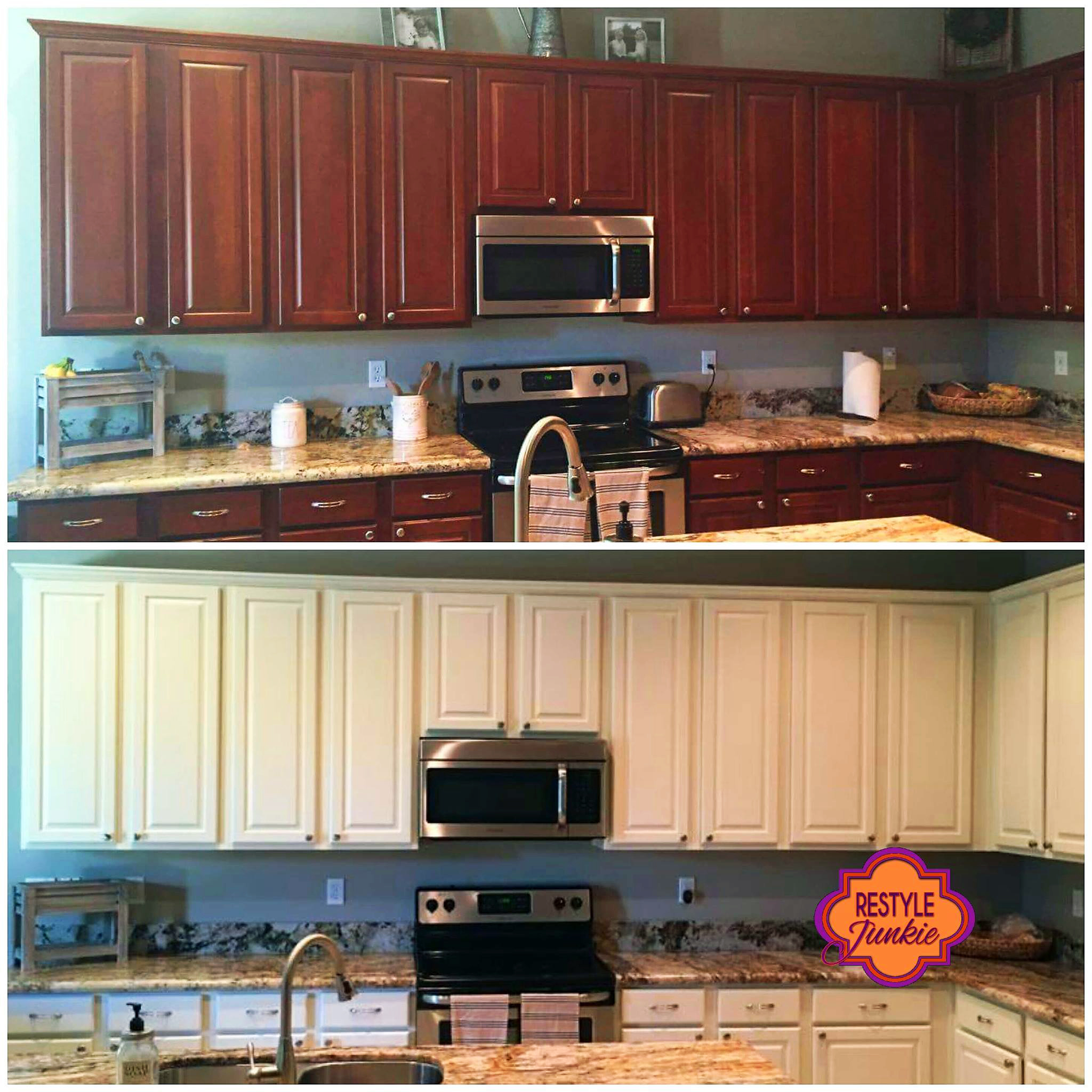 Used White Kitchen Cabinets: Antique White Kitchen Cabinet Makeover