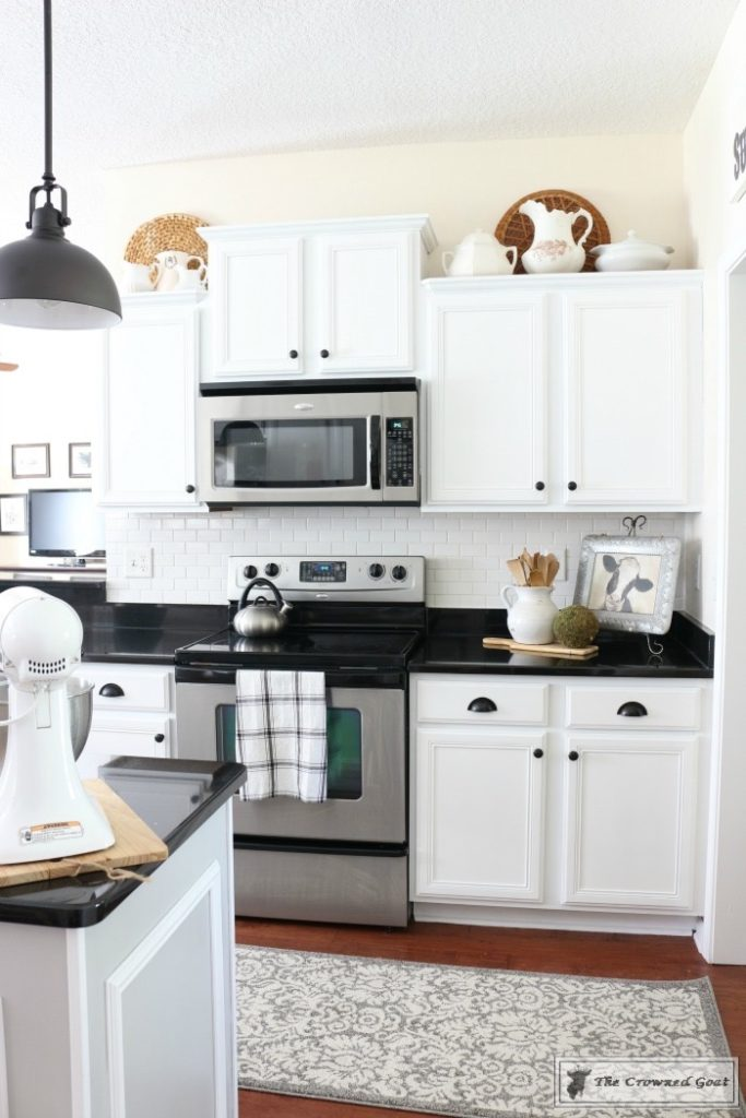 Snow white kitchen cabinet makeover general finishes for White milk paint kitchen cabinets