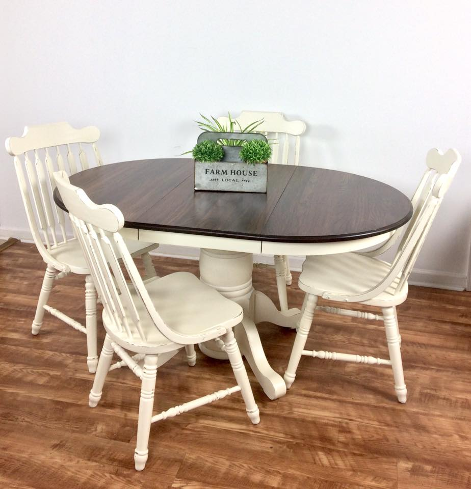 Solid Oak Table Set In Antique White Amp Espresso General