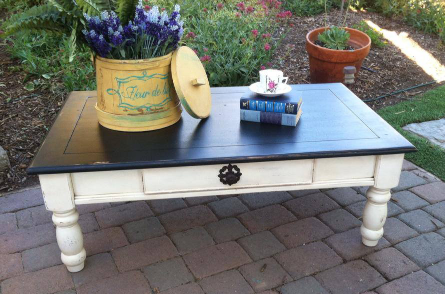 antique cottage table coffee table in antique white and lamp black milk paint general