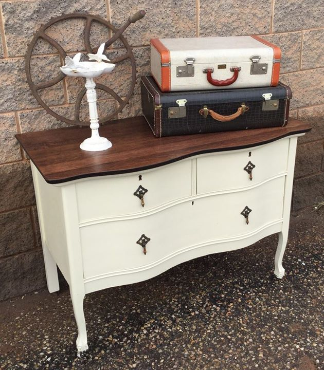 General Finishes Gel Stain Pint Or Furniture Oil Topcoat: Dresser In Linen Milk Paint And Java Gel Stain