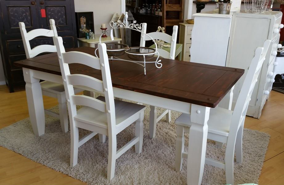 Fabulous Farmhouse Table and Chairs in Antique White Milk Paint and Candlelit