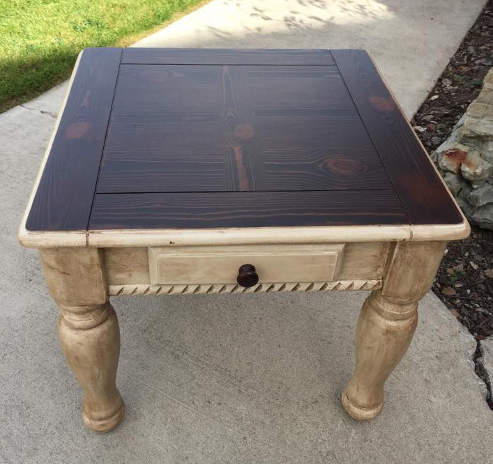 End Table In Java Gel Stain And Linen Milk Paint Topped