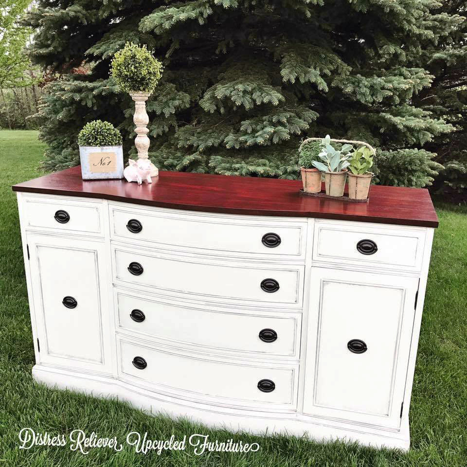 Antique White And Georgian Cherry Dresser General Finishes Design Center