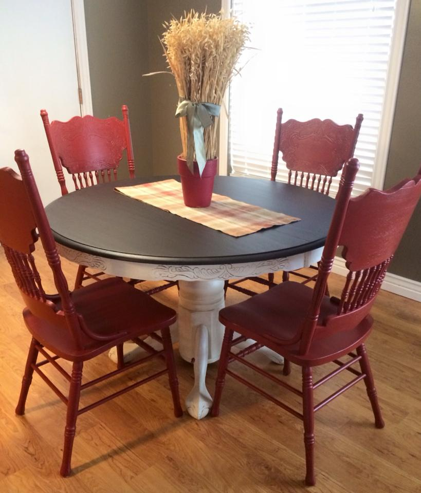 Dining Set In Java Gel Stain And Brick Red Milk Paint