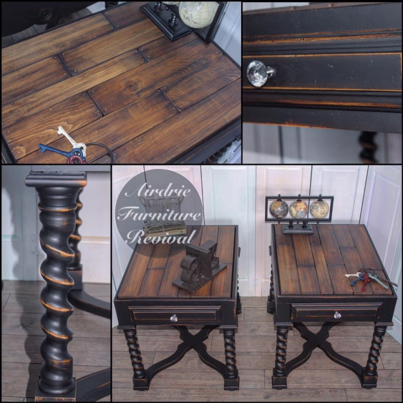 Antique walnut end tables with class black general for Painting wood table black