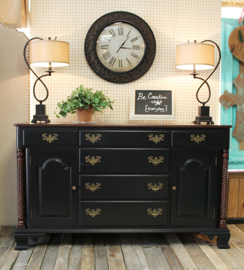 General Finishes Gel Stain Pint Or Furniture Oil Topcoat: Buffet In Lamp Black & Brown Mahogany