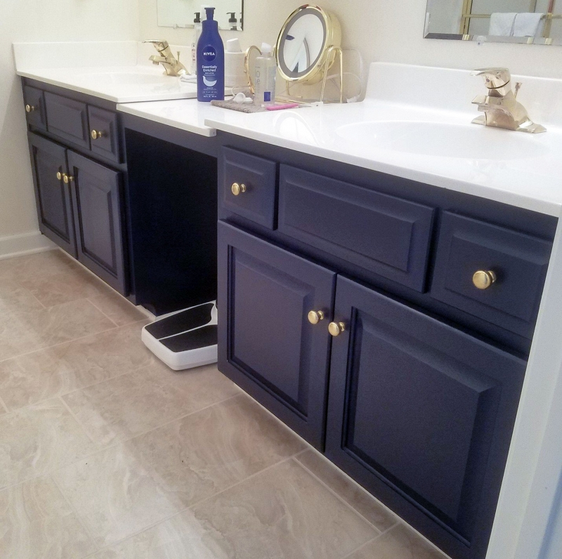 Coastal blue bathroom vanity general finishes design center Best paint finish for bathroom