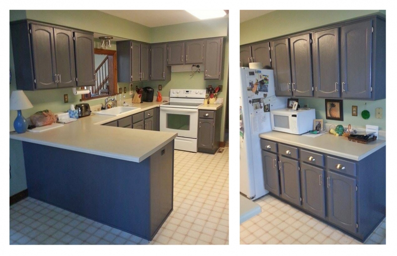 Kitchen Cabinets In Driftwood Gray Milk Paint Topped With High Performance Top Coat General