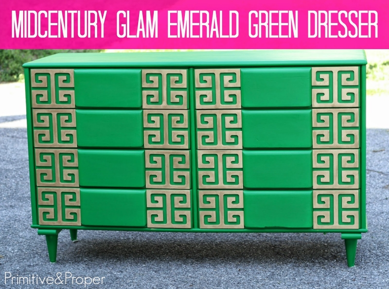 Emerald green midcentury dresser general finishes design - How to mix emerald green paint ...