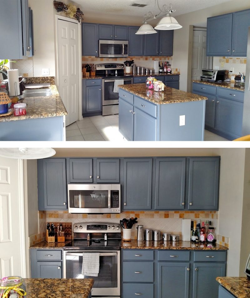 The Best Wall Colors To Update Stained Cabinets: Kitchen Makeover In Gray Gel Stain