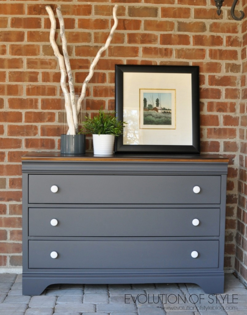 Dresser in queenstown gray milk paint general finishes for Dark grey furniture paint