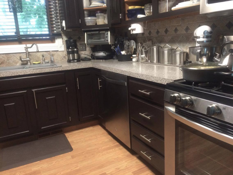 Kitchen makeover in dark chocolate milk paint general for Dark brown painted kitchen cabinets