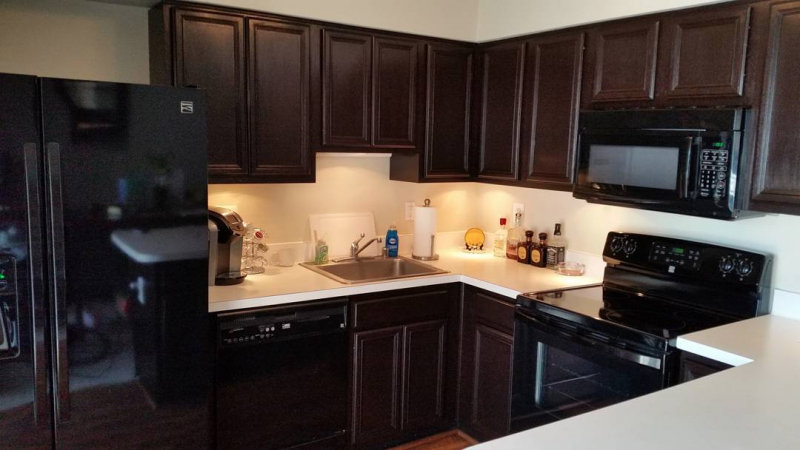 kitchen in java gel stain and high performance top coat