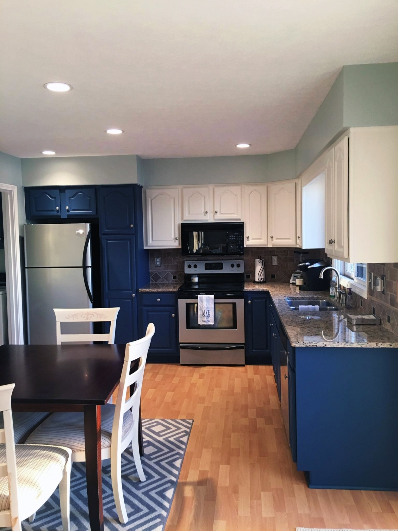 Kitchen cabinet makeover in gf custom mixed milk paint for White milk paint kitchen cabinets