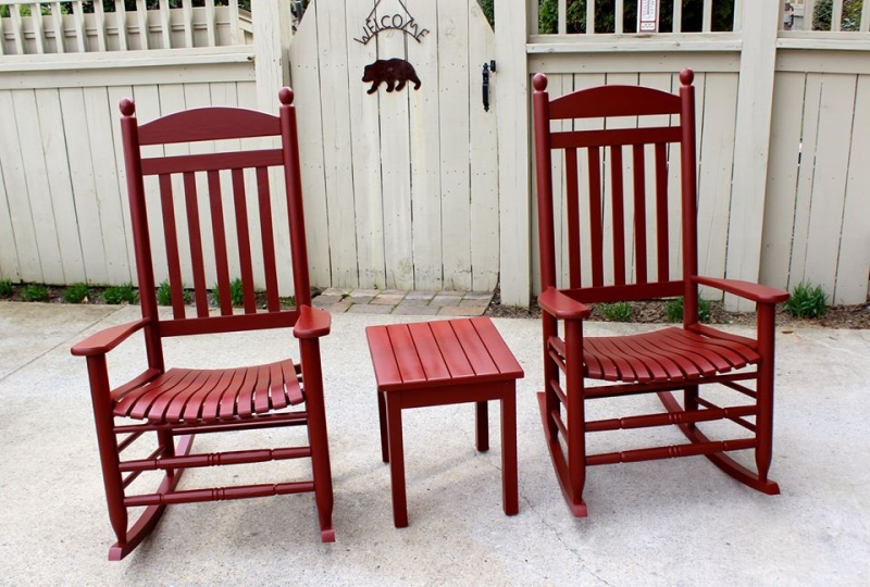 Rocking Chairs in Tuscan Red Milk Paint  General Finishes Design ...