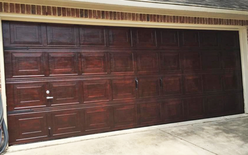 Brown mahogany garage door general finishes design center for How to stain a garage door