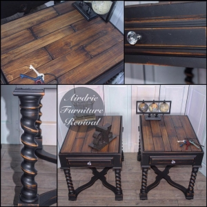 Antique Walnut End Tables With Class Black