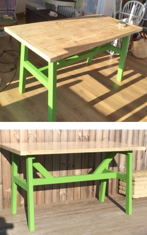 Table With A Lime Green Milk Paint Base