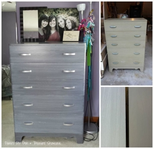 dresser in driftwood milk paint topped with whitewash stain