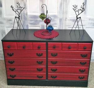Charming Holiday Red And Pitch Black Glazed Dresser