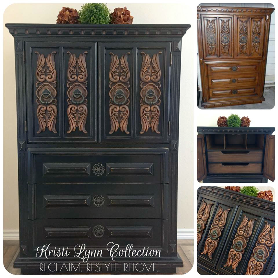 Two Toned Ornate Lamp Black Armoire | General Finishes ...