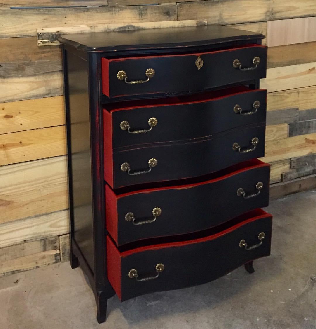 Red And Black Painted Dresser Euffslemani. Georgia Bulldog Dedicated Dresser  General Finishes Design Center