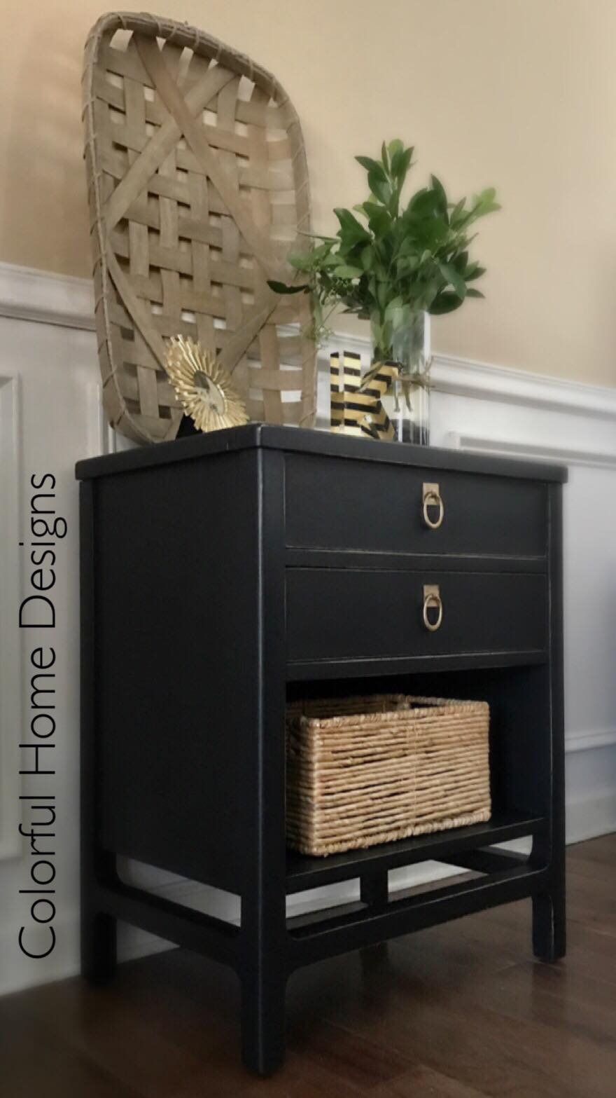 Vintage Stanely Nightstand In Lamp Black General Finishes Design Center