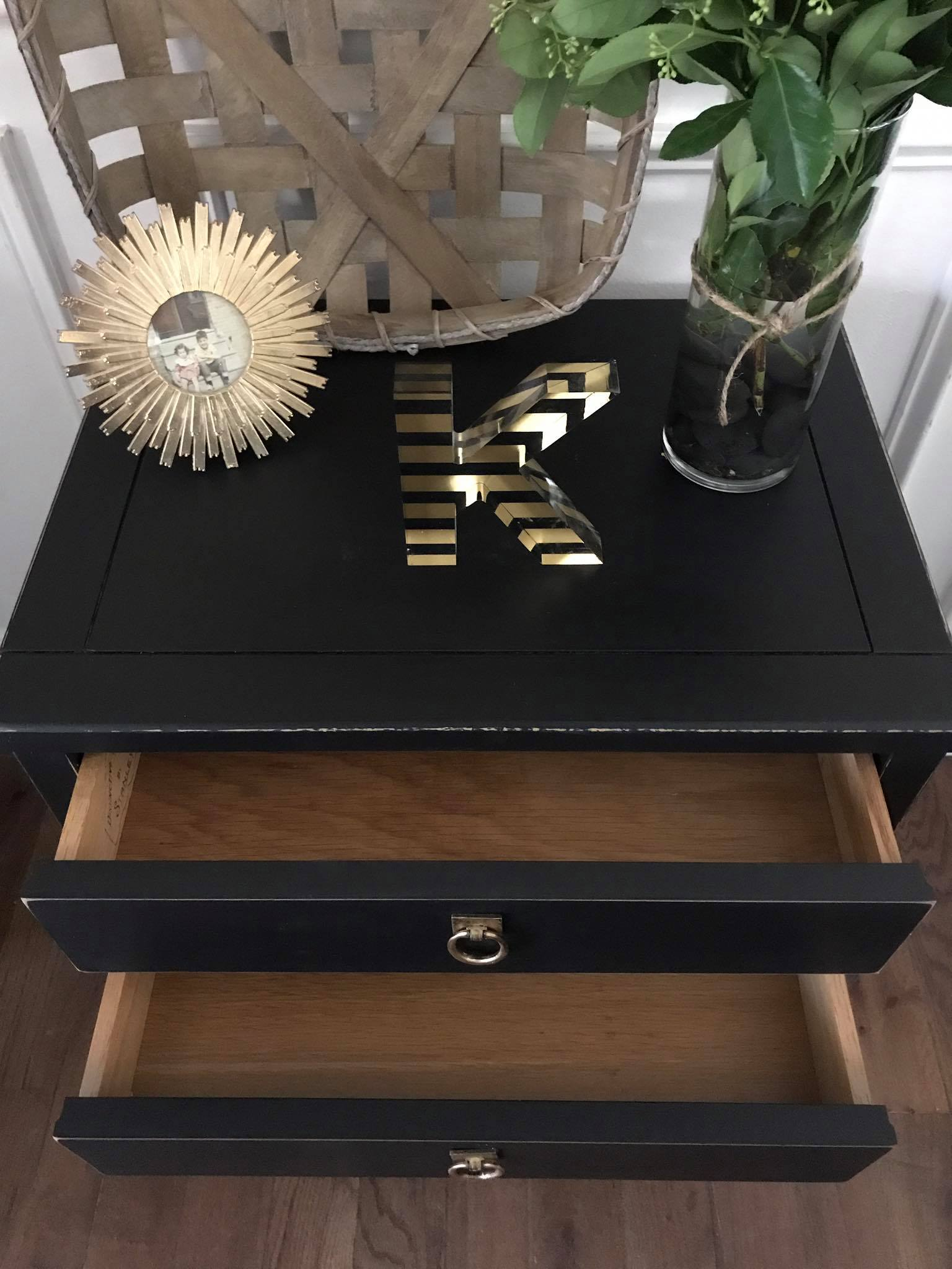 Vintage Stanely Nightstand in Lamp Black | General Finishes Design ...