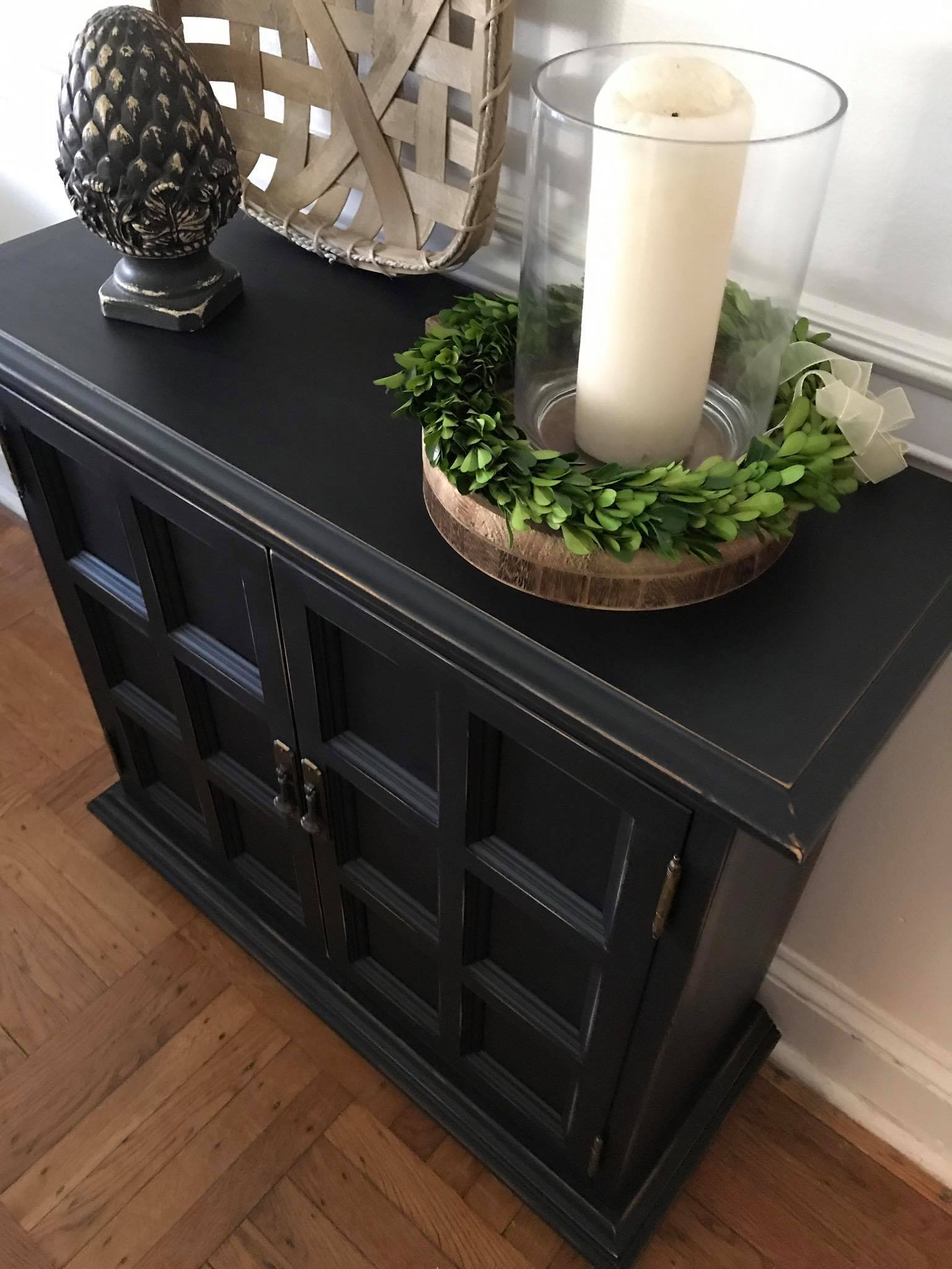 Ethan Allen Console Cabinet In Lamp Black General