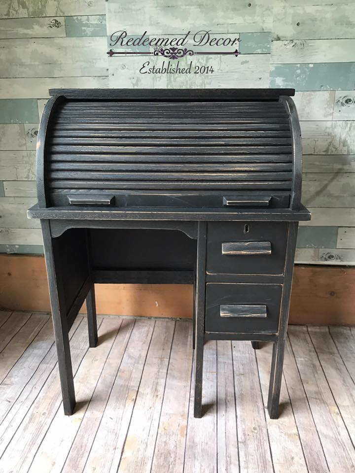Roll Top Desk In Lamp Black Milk Paint General Finishes