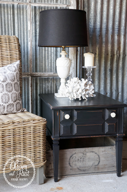 Rustic Lamp Black End Table General Finishes Design Center