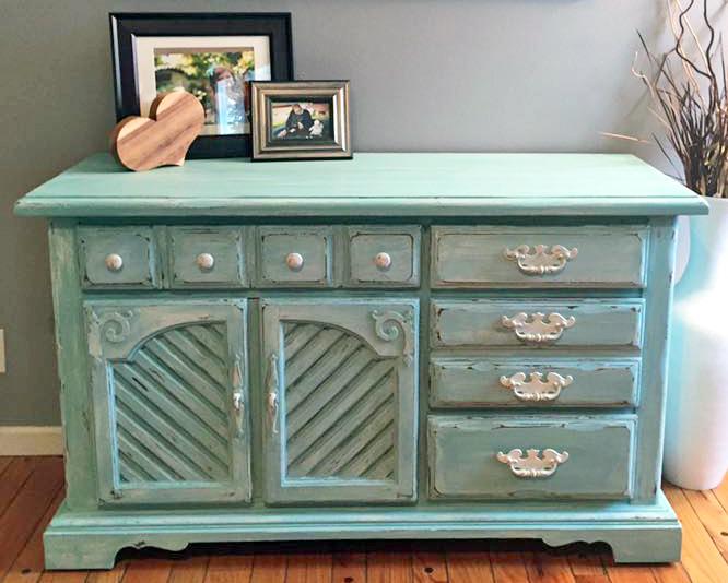 Distressed Key West Blue Cabinet | General Finishes Design ...