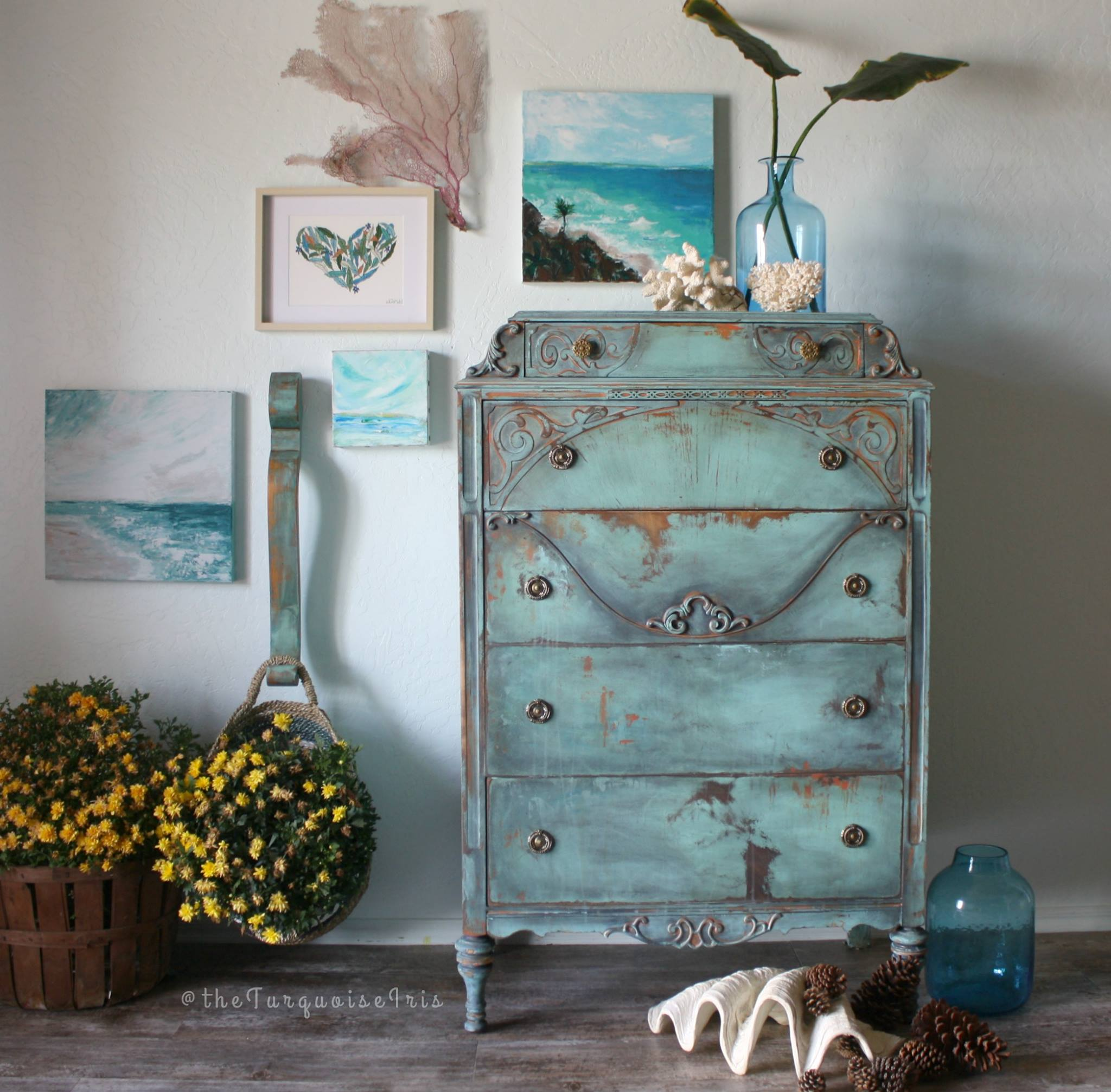 Layered Dresser In Key West Blue, Midnight Blue And