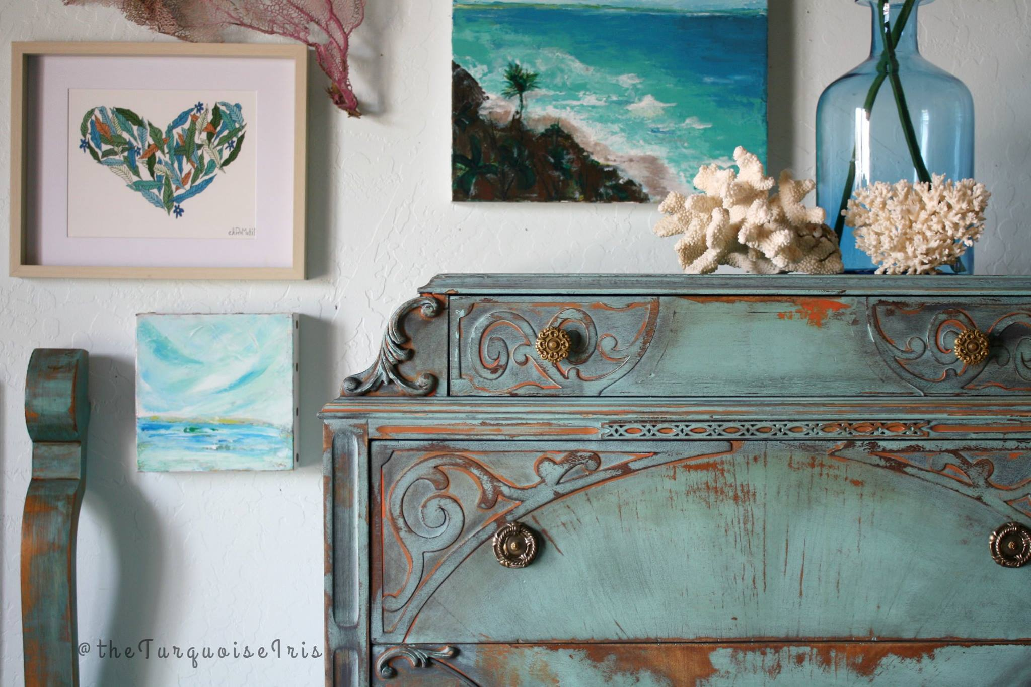 Layered Dresser In Key West Blue Midnight Blue And