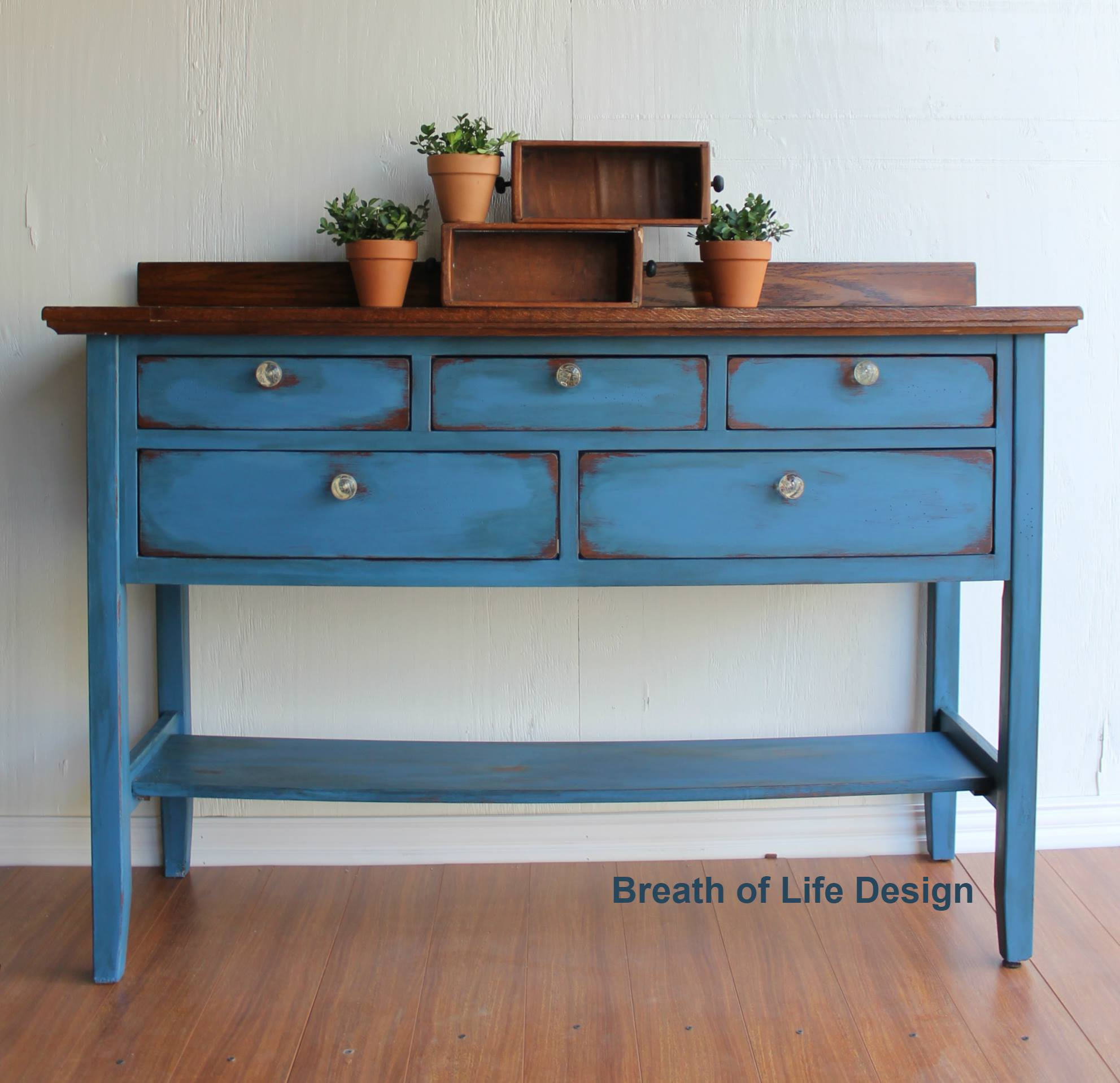 Side Table in Antique White & Coastal Blue Custom Color Mix ...