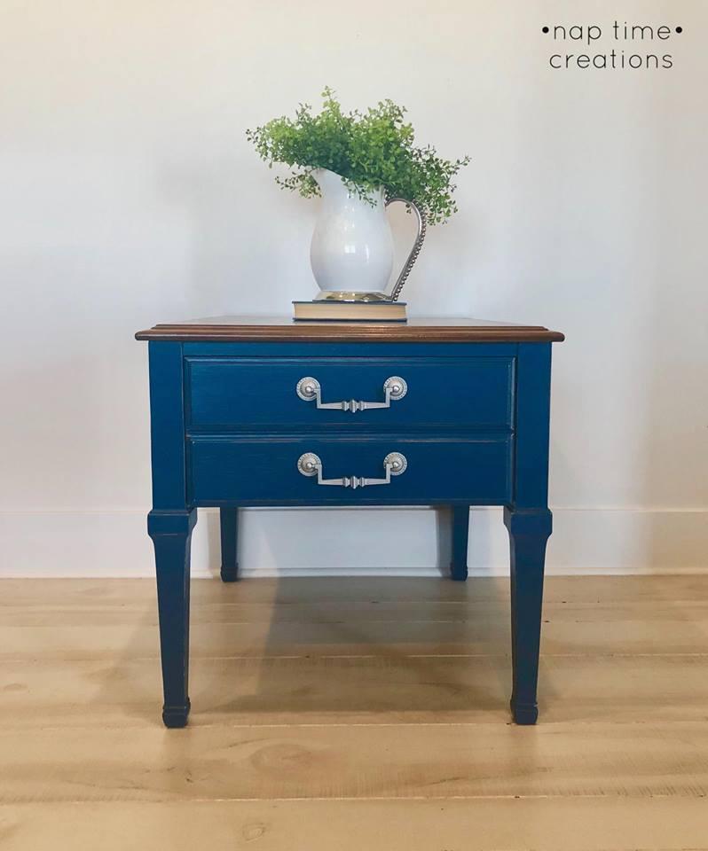 vintage lane side table in custom color navy general finishes design center. Black Bedroom Furniture Sets. Home Design Ideas