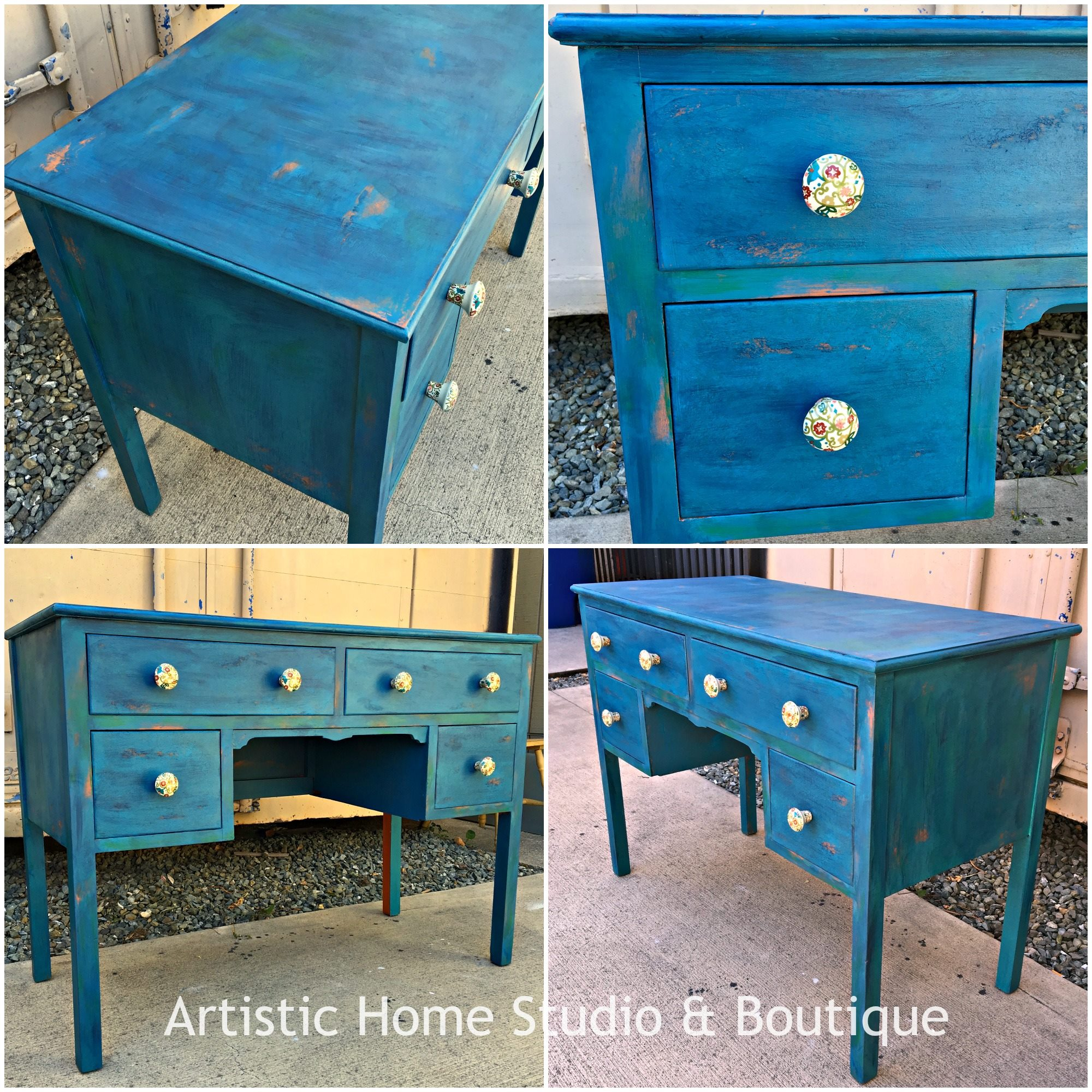 Chalk style paint general finishes layered blue desk in milk paint and chalk style paints publicscrutiny Choice Image